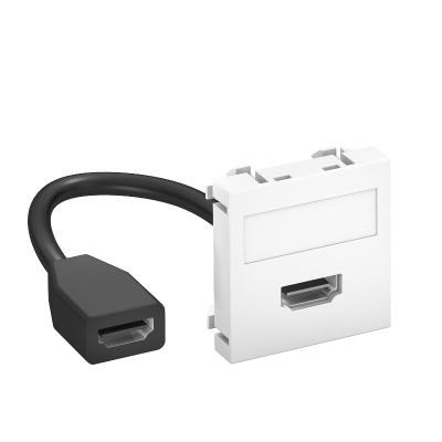 Мультимедийная рамка с разъемом HDMI, ширина 1 модуль, с прямым выводом, с соединительным кабелем — арт.: 6104826