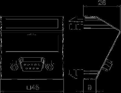 Схема Мультимедийная рамка с разъемом D-Sub9, ширина 1 модуль, с наклонным выводом, для винтового соединения — арт.: 6104646