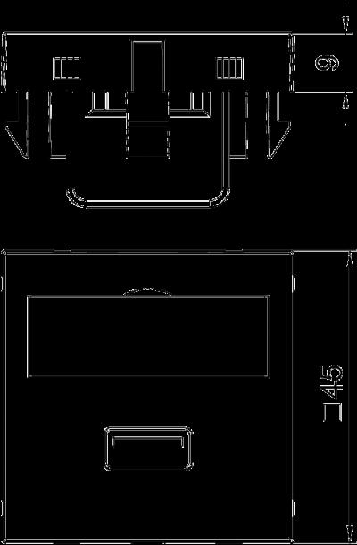 Схема Мультимедийная рамка с разъемом USB 2.0 / 3.0, ширина 1 модуль, с прямым выводом, с соединительным кабелем — арт.: 6104922