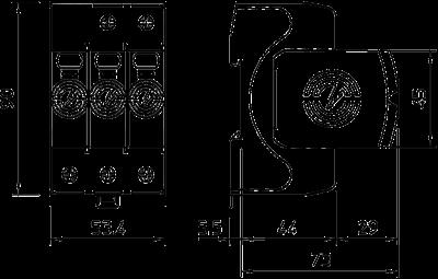 Схема Комбинированный разрядник V50 3-полюсный, 320 В — арт.: 5093542