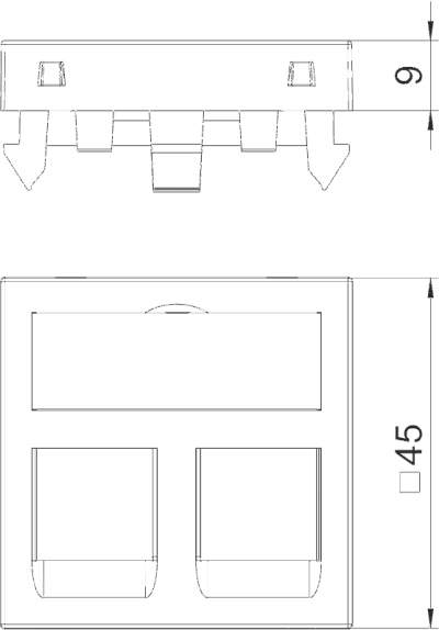 Схема Корпус компьютерной розетки, ширина 1 модуль, с прямым выводом, тип C, без пылезащитных клапанов — арт.: 6119280