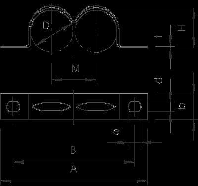 Схема Крепежная скоба двойная, с двумя лапками — арт.: 1004166