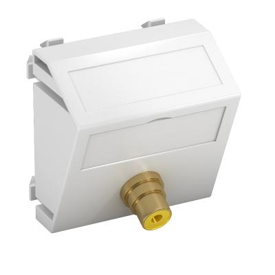 Мультимедийная рамка с разъемом Video-Cinch, ширина 1 модуль, с наклонным выводом, для соединения пайкой — арт.: 6104982