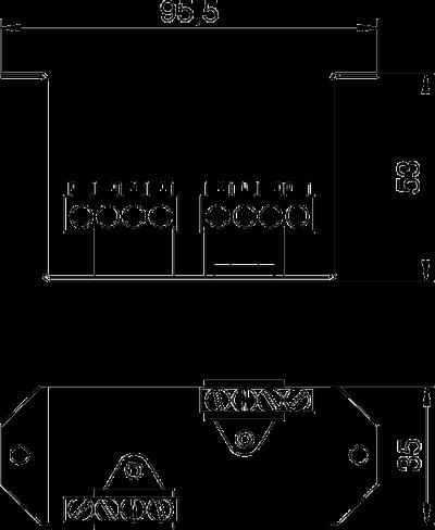 Схема Суппорт с клеммной колодкой N и PE для монтажа защитного устройства в блоках питания VHF — арт.: 6109854