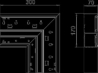 Схема Плоский угол нисходящий, для кабельного короба высотой 70 мм — арт.: 6278230