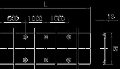 Схема Усиленная рифленая крышка с поворотным фиксатором, расстояние между фиксаторами 1000 мм — арт.: 6049110