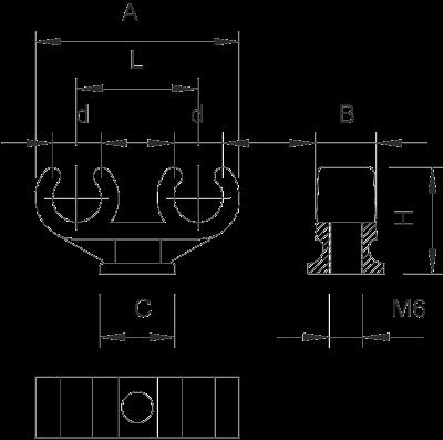 Схема Зажимная скоба для медных труб двойная — арт.: 2140608
