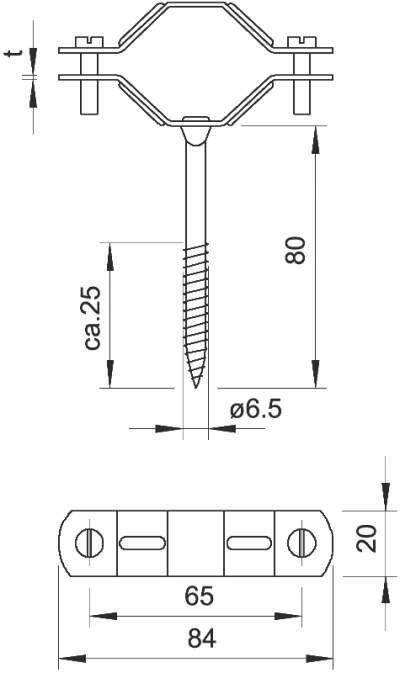 Схема Винтовая дистанционная скоба с шурупом — арт.: 1310615