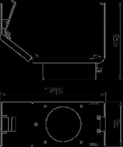 Схема Монтажная рамка для установки силовой розетки CEE, системная длина 165 мм, без розетки — арт.: 7407665