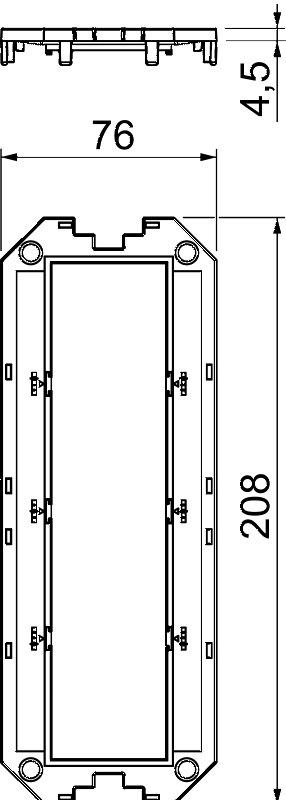 Схема Накладка для универсальной монтажной коробки UT4, с отверстием для 4 розеток Modul 45® — арт.: 7408763