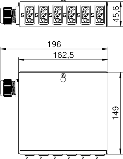 Схема Энергораспределитель UVS с фиксированным 5-полюсным подключением, с 6 3-полюсными гнездовыми разъемами белого цвета — арт.: 6108005