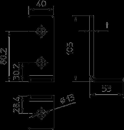 Схема Монтажный угол 90°, с 3 отверстиями — арт.: 1124621
