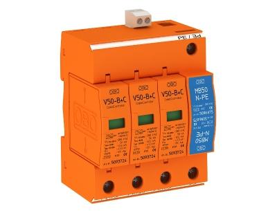 Молниезащитный разрядник и устройство защиты от перенапряжений, 3-полюсный + NPE, с дистанционной сигнализацией — арт.: 5093662