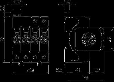 Схема Разрядник для защиты от перенапряжений V20 3-полюсный + NPE, с дистанционной сигнализацией, 150 В — арт.: 5095321