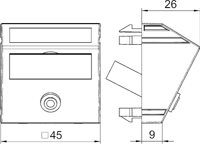 Схема Мультимедийная рамка с разъемом Mini-Klinken, ширина 1 модуль, с наклонным выводом, для соединения пайкой — арт.: 6104958
