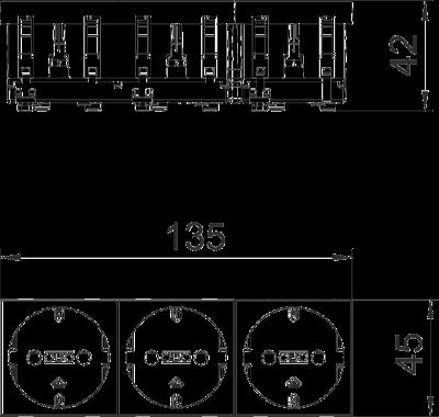 Схема Розетка 0° с защитным контактом, тройная — арт.: 6120042