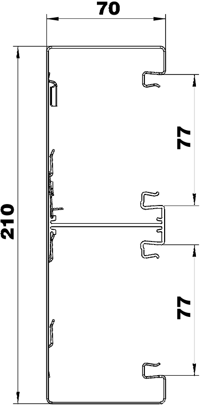 Схема Стальной кабельный короб Rapid 80 высотой 70 мм — арт.: 6278401