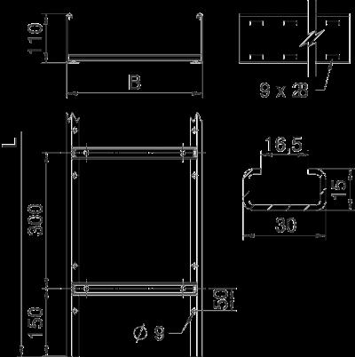Схема Кабельный лоток SLCS 110 лестничного типа — арт.: 6207302