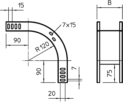 Схема Вертикальная угловая секция 90° нисходящая — арт.: 7007200