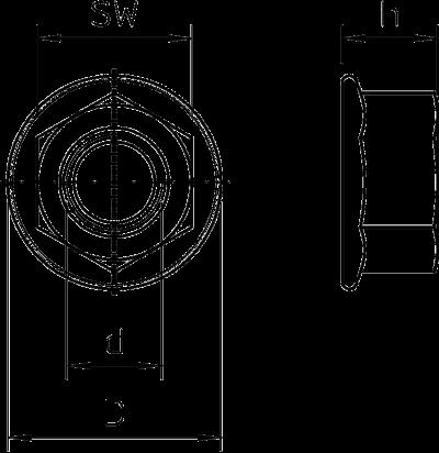 Схема Шестигранная гайка с зубцами — арт.: 3156120