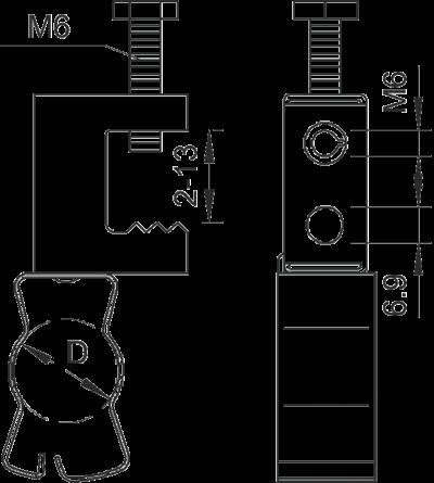 Схема Винтовой балочный зажим для труб — арт.: 1484818