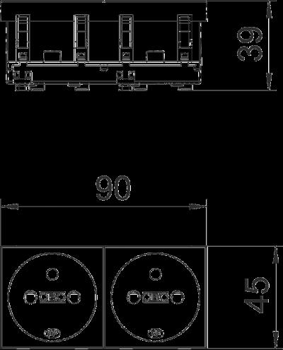 Схема Розетка 0° с заземляющим стержнем, двойная — арт.: 6120172