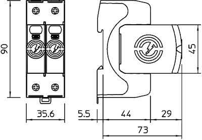 Схема Разрядник для защиты от перенапряжений V20 2-полюсный, 150 В — арт.: 5095152