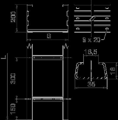 Схема Кабельный лестничный лоток WKL 200 для больших расстояний — арт.: 6232027
