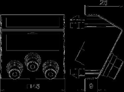 Схема Мультимедийная рамка с 3 разъемами Audio/Video-Cinch, ширина 1 модуль, с наклонным выводом, для соединения 1:1 — арт.: 6105198