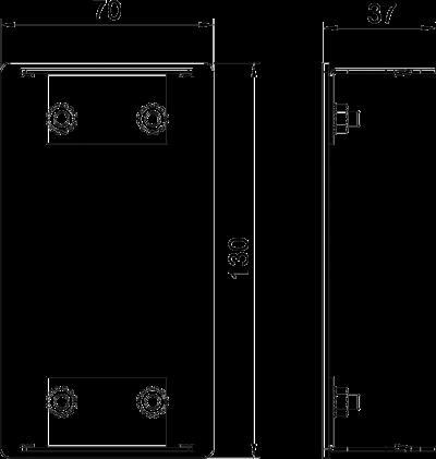 Схема Алюминиевая торцевая заглушка для кабельного короба высотой 70 мм — арт.: 6279373