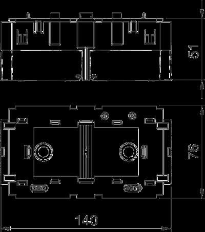 Схема Монтажная коробка двойная, для устройств Modul 45® — арт.: 6288583