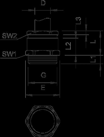 Схема Конусный кабельный ввод с резьбой PG, с малым уплотнительным кольцом — арт.: 2082071