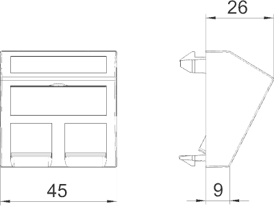 Схема Корпус компьютерной розетки, ширина 1 модуль, с наклонным выводом, тип RM — арт.: 6119298
