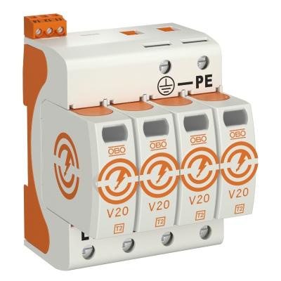 Разрядник для защиты от перенапряжений V20 4-полюсный, с дистанционной сигнализацией, 280 В — арт.: 5095284