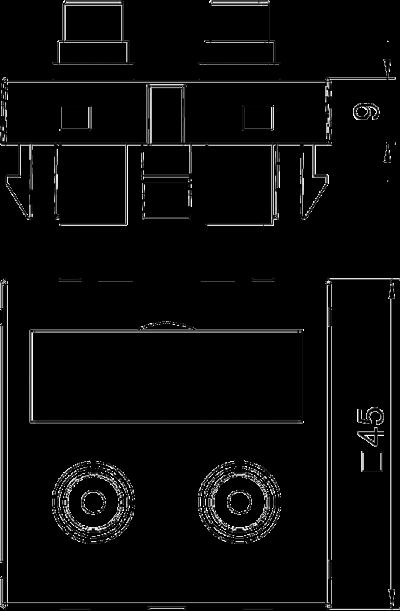 Схема Мультимедийная рамка с 2 разъемами Audio-Cinch, ширина 1 модуль, с прямым выводом, для соединения пайкой — арт.: 6105042