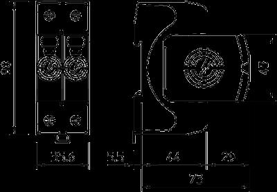 Схема Разрядник для защиты от перенапряжений V20 2-полюсный, 550 В — арт.: 5095212