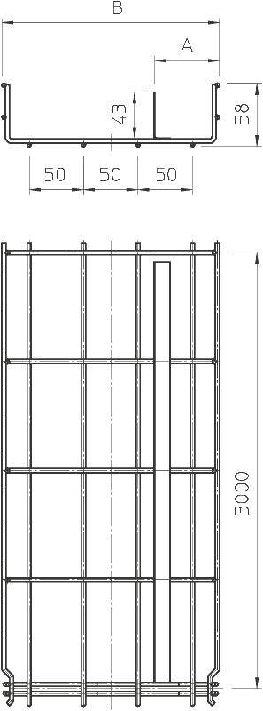 Схема Проволочный лоток GR-Magic® с разделительной полочкой — арт.: 6006453