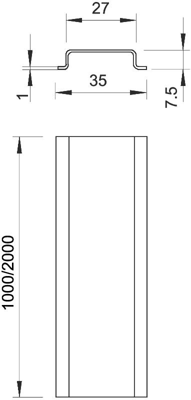 Схема DIN-рейка неперфорированная — арт.: 1115650