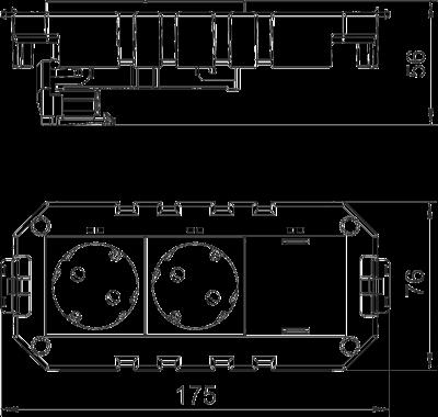 Схема Модульная рамка MT3, укомплектованная двойной розеткой с защитным контактом, на 1 цепь тока, длина 165 мм — арт.: 7404630