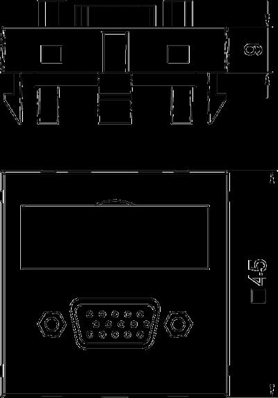 Схема Мультимедийная рамка с разъемом VGA, ширина 1 модуль, с прямым выводом, с соединительным кабелем — арт.: 6104658