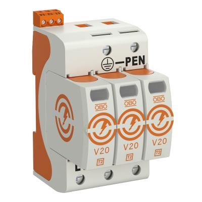 Разрядник для защиты от перенапряжений V20 3-полюсный, с дистанционной сигнализацией, 550 В — арт.: 5095313