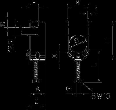 Схема Зажимная скоба 1-секционная, с металлической прижимной пластиной — арт.: 1156802