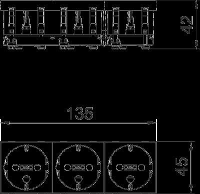 Схема Розетка 0° с защитным контактом, с кодом, тройная — арт.: 6120296
