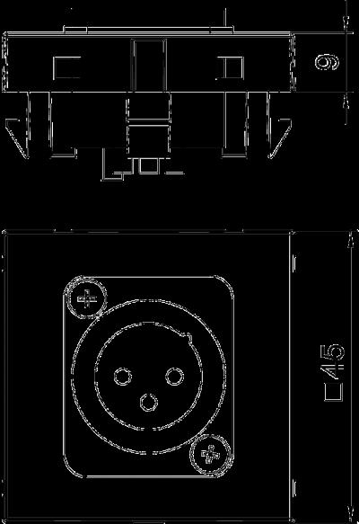 Схема Мультимедийная рамка с 3полюсным штекерным разъемом XLR ширина 1 модуль, с прямым выводом, для соединения пайкой — арт.: 6105222
