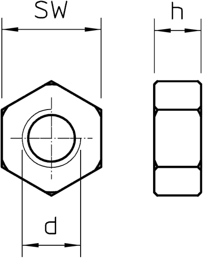 Схема Шестигранная гайка DIN 934 — арт.: 3400107