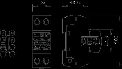 Схема Молниезащитный разрядник 1-полюсный NPE — арт.: 5096863
