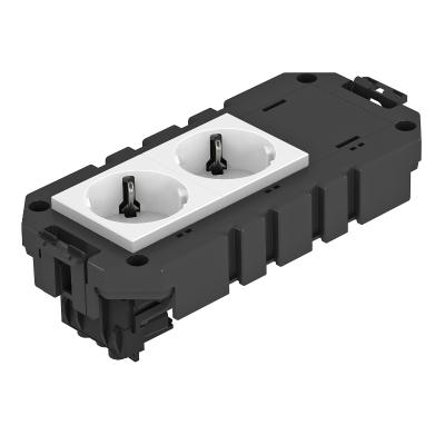 Модульная рамка MT3, укомплектованная двойной розеткой с защитным контактом, на 1 цепь тока, длина 165 мм — арт.: 7404630