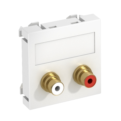 Мультимедийная рамка с 2 разъемами Audio-Cinch, ширина 1 модуль, с прямым выводом, для соединения 1:1 — арт.: 6105066