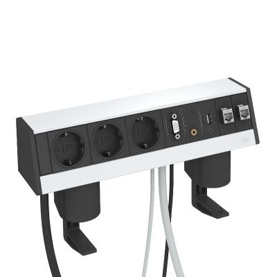 Настольный бокс DB с крепежным зажимом, с 3 розетками, 1 разъемом VGA, 1 разъемом Miniklinke, 1 разъемом USB и 2 разъемами RJ45 CAT 6 — арт.: 6116960