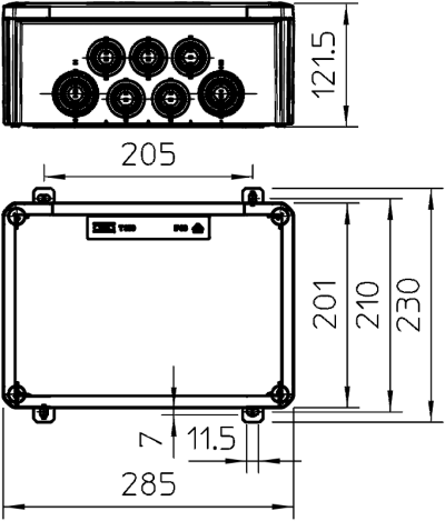 Схема Огнестойкая распределительная коробка FireBox T-350 ED для телекоммуникационного кабеля, с наружным креплением — арт.: 7205590